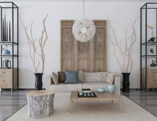 沙发组合, 多人沙发, 双人沙发, 茶几, 装饰架, 吊灯, 茶具, 干树枝, 摆件, 装饰品, 陈设品, 新中式