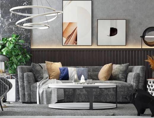 现代, 沙发组合, 茶几, 吊灯, 摆画, 盘栽