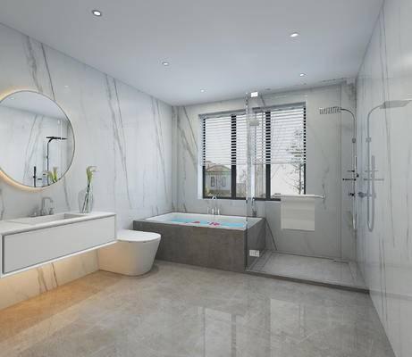 卫浴, 卫生间, 现代卫浴, 浴缸, 淋浴间, 现代
