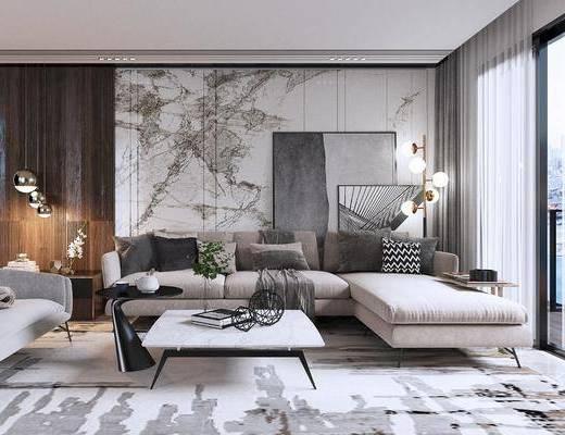 沙发组合, 沙发茶几组合, 吊灯组合, 现代