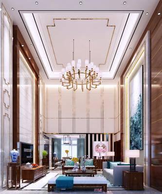 新中式客厅, 别墅, 中式别墅, 中式客厅, 中式沙发, 沙发组合, 沙发茶几组合