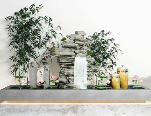 山水荷花, 园艺小品, 竹子景观, 新中式