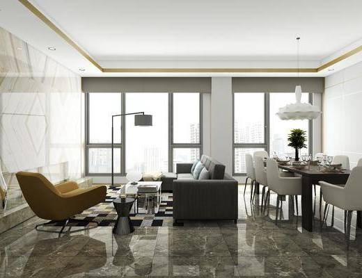 客厅, 餐厅, 多人沙发, 茶几, 单人沙发, 落地灯, 转角沙发, 边几, 餐桌, 餐椅, 单人椅, 餐具, 吊灯, 摆件, 装饰品, 陈设品, 现代
