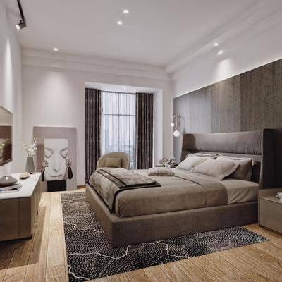卧室, 现代, 床, 双人床, 后现代, 床头柜, 电视柜, 吊灯, 装饰画