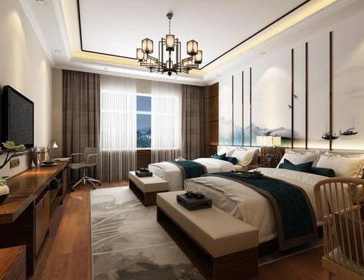 酒店客房, 新中式酒店客房, 床具组合, 卧室, 双人床, 吊灯, 摆件, 单椅, 电视柜, 新中式