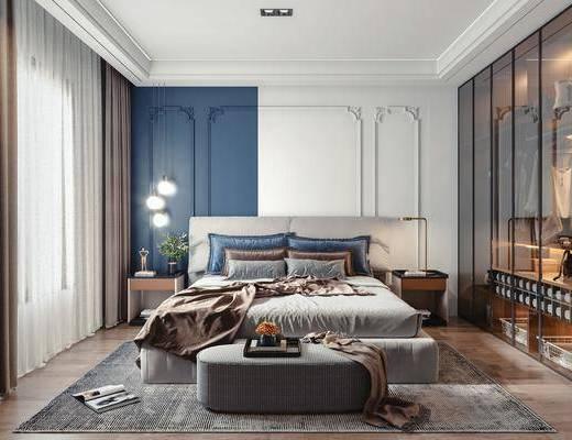现代卧室, 双人床, 台灯