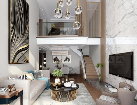 沙发组合, 现代客厅, 客厅, 现代沙发, 沙发茶几组合