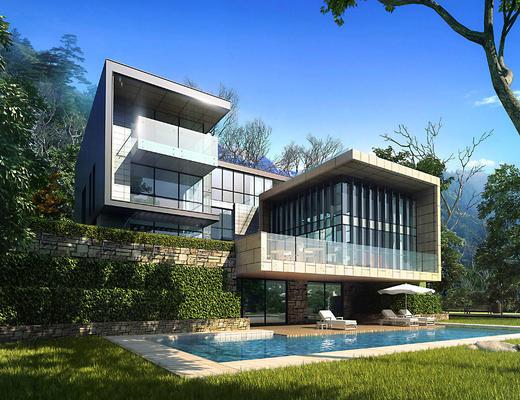 别墅, 建筑, 泳池, 阳台, 园林, 景观
