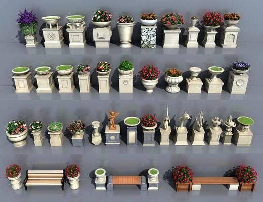 园艺小品, 现代景观园林, 花盆, 花坛, 植物