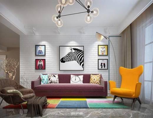 现代客厅, 客厅, 沙发组合, 沙发茶几组合