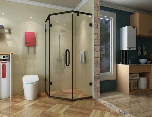 卫生间, 厨房, 淋浴间, 橱柜, 便器, 净水器