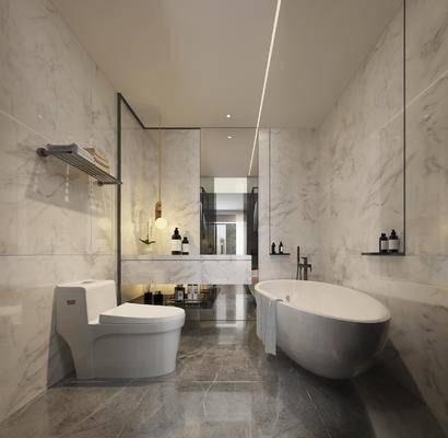 卫生间, 浴缸, 马桶, 吊灯, 洗手台, 洗浴, 现代