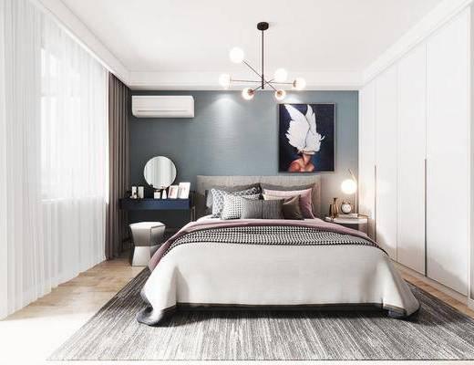 双人床, 吊灯, 装饰画, 梳妆台, 衣柜