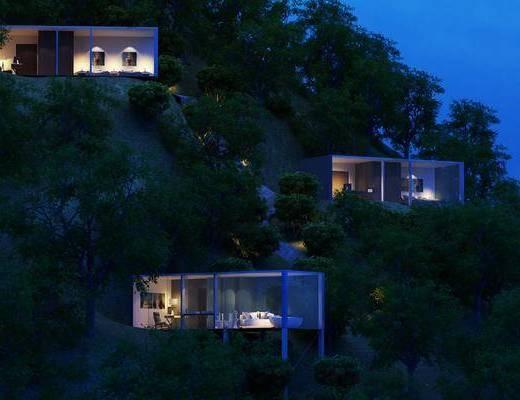 山顶别墅, 别墅小屋, 树木, 绿植植物, 现代
