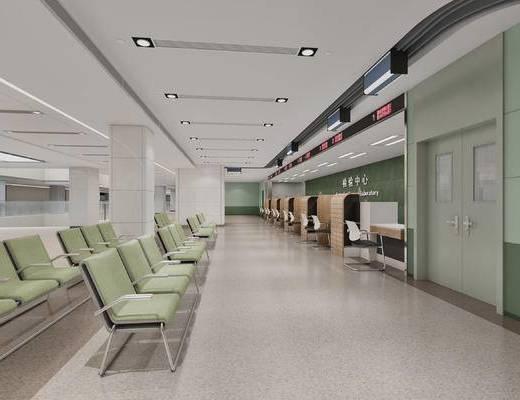 现代, 医院, 体检区, 采血区, 椅子, 多人椅