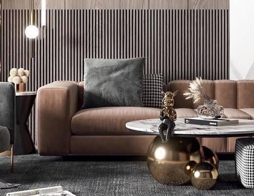 沙发组合, 单椅, 吊灯, 茶几, 装饰画, 摆件组合