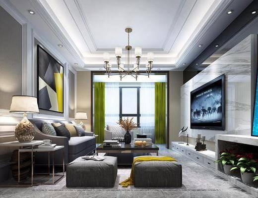 现代客厅, 现代, 客厅, ?#23478;?#27801;发, 台灯, 现代吊灯