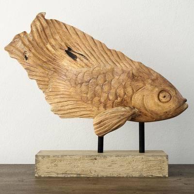 摆件, 木, 鱼, 雕刻, 现代