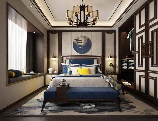 新中式卧室, 床具, 双床, 衣柜, 床尾踏, 床头柜, 台灯, 新中式吊灯, 新中式台灯