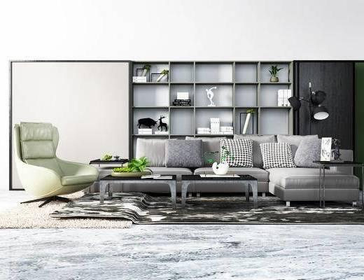 现代转角沙发, 长毛地毯, 单椅, 抱枕, 置物架, 摆件, 茶几