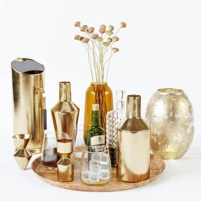 酒瓶, 酒杯, 摆件组合, 花瓶
