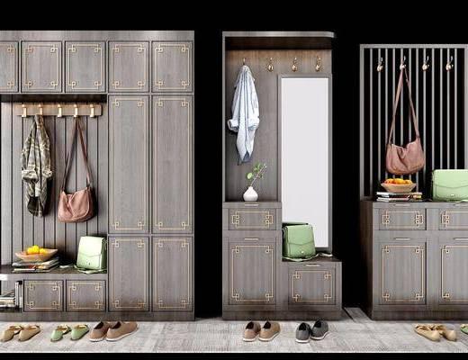 鞋柜组合, 鞋柜, 装饰柜, 衣柜, 新中式