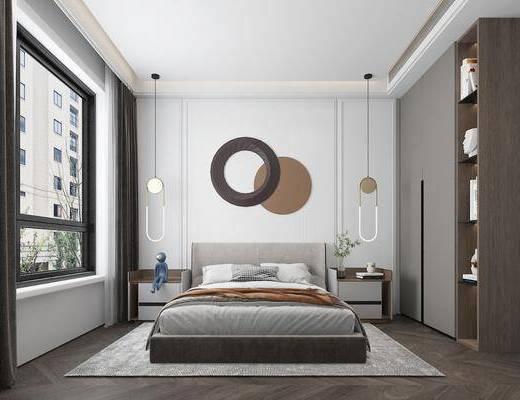 现代卧室, 双人床, 吊灯, 床头柜