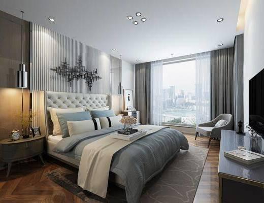 现代卧室, 简欧卧室, 卧室, 双人床