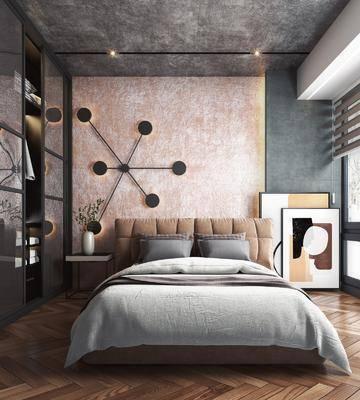双人床, 墙饰, 装饰画, 衣柜, 床头柜, 摆件, 花瓶