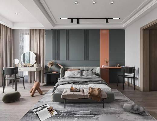 现代轻奢, 卧室, 双人床, 化妆桌, 床头柜