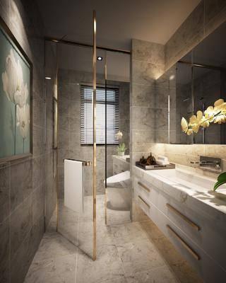 现代卫生间, 现代, 卫生间, 洗手盆, 淋浴间