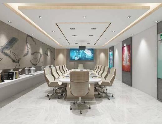 会议室, 桌椅组合, 背景墙, 装饰画