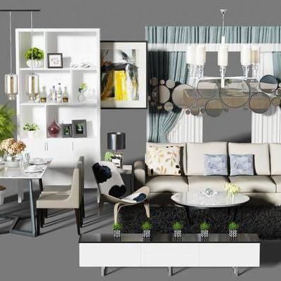 沙发组, 沙发茶几组合, 酒柜, 餐桌, 餐桌椅组合, 桌椅组合, 电视柜, 吊灯, 现代