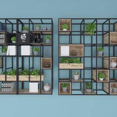 置物架, 装饰架, 植物, 盆栽, 书籍, 摆件, 装饰品, 北欧, 简约