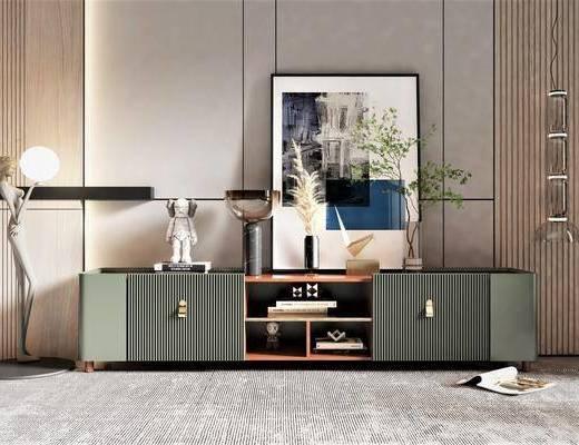 现代风格电视柜, 饰品摆件