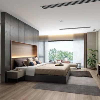现代卧室, 现代, 卧室, 床, 床头柜, 盆栽, 植物, 电视柜, 沙发