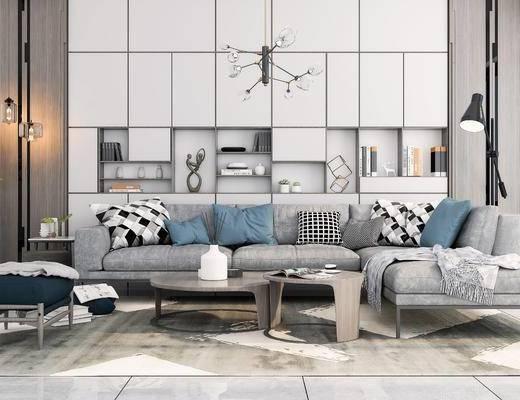 沙發組合, 沙發茶幾組合, 擺件組合, 現代