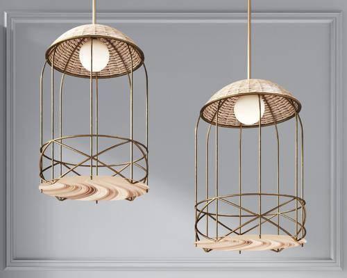 现代金属编织小吊灯