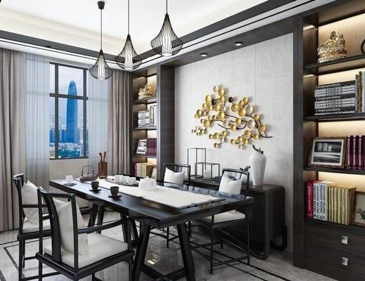 中式书房, 书桌, 吊灯, 边柜, 书架