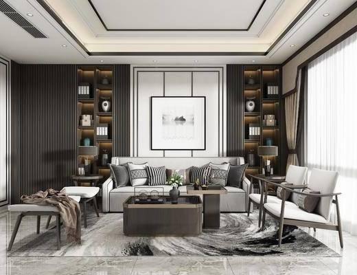客厅, 沙发组合, 茶几, 装饰画