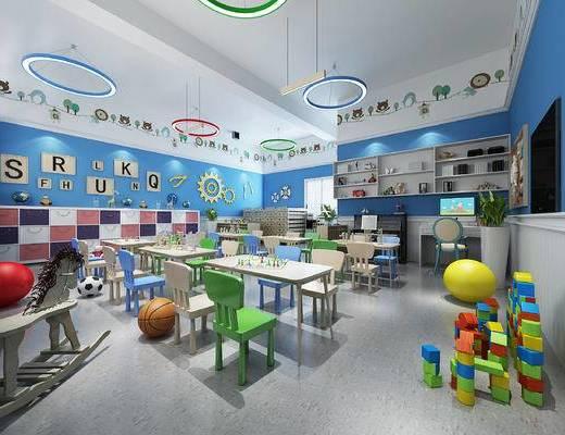 早教中心, 活动中心, 幼儿桌椅, 墙饰, 柜子, 小黑板, 吊灯