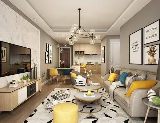 客厅, 餐厅, 多人沙发, 茶几, 边几, 电视柜, 吊灯, 装饰画, 组合画, 餐桌, 餐椅, 单人椅, 橱柜, 厨具, 摆件, 装饰品, 陈设品, 北欧