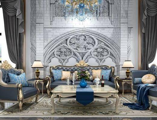 多人沙发, 茶几, 边几, 台灯, 单人沙发, 躺椅, 装饰柜, 边柜, 吊灯, 摆件, 欧式