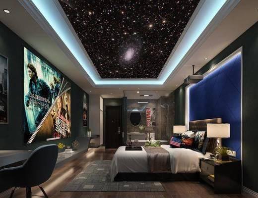 酒店客房, 双人床, 台灯, 花洒, 床头柜, 投影仪, 后现代