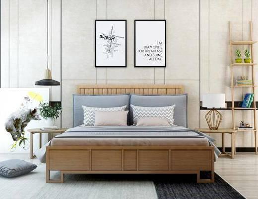 北欧双人床组合, 双人床, 置物架, 挂画