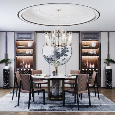 墙饰, 吊灯, 餐桌, 桌椅组合, 装饰品