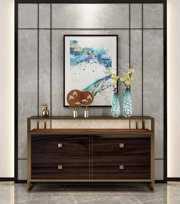 边柜, 玄关柜, 摆件, 装饰画, 中式