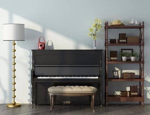 装饰架, 摆件, 装饰品, 陈设品, 凳子, 落地灯, 钢琴, 北欧