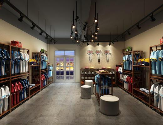 体育用品, 专卖店, 秋衣, 店铺, 衣服, 服装