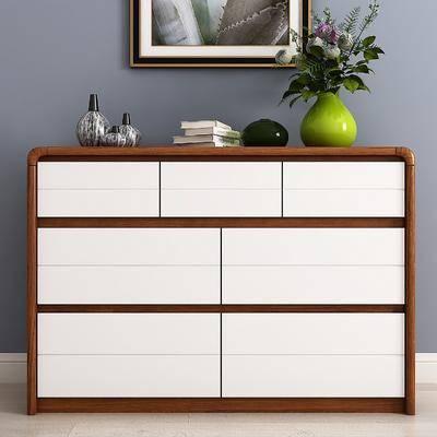 边柜, 斗柜, 饰品模型, 摆件, 装饰品, 陈设品, 装饰画, 挂画, 花瓶花卉, 现代